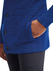 Gallant Hooded Button Front Sweater - Cobalt Blue