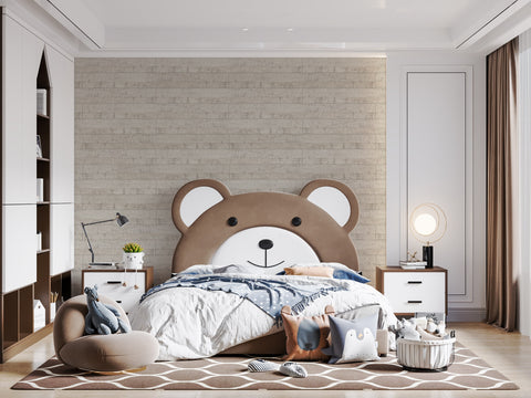 Cute and cozy kids room with beige brown wooden wall frosted birch renoboard
