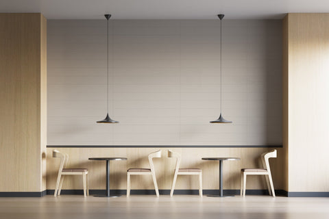 warm and cozy, simple neutral cafe interior with soft beige Renoboard