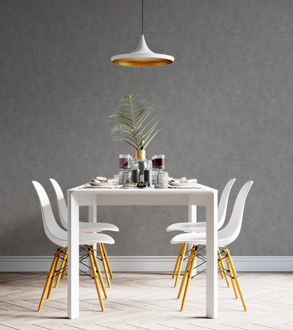 Modern dining room interior with Cement Stone Renoboard; Trendy gray interior for 2021
