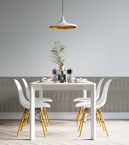 Rustic dining room interior with Ash Oak Renoboard; Trendy gray interior for 2021