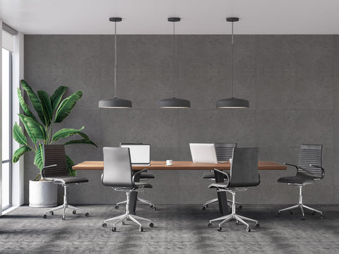 contemporary and simple gray office interior with cement renoboard