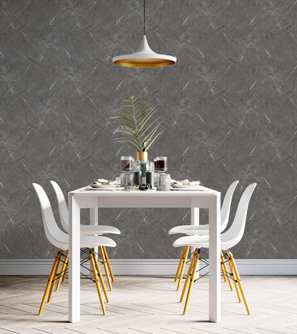 Trendy and Luxurious dining room interior with Pietra Marble Renoboard; Trendy gray interior for 2021