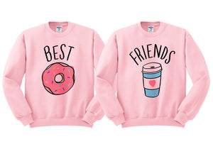 Best Friends Donut And Coffee Duo Sweatshirt Set - Femfetti