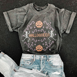 Halloqueen Cross-Stitch Shirt - Femfetti