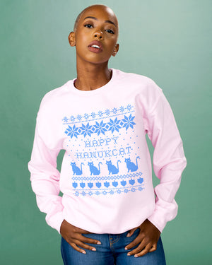 Happy Hanukcat Hanukkah Cat Crewneck Sweatshirt - Femfetti