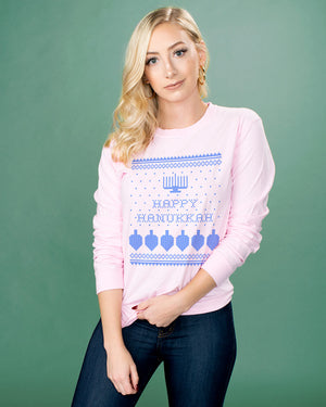 Happy Hanukkah Long Sleeve Tee - Femfetti