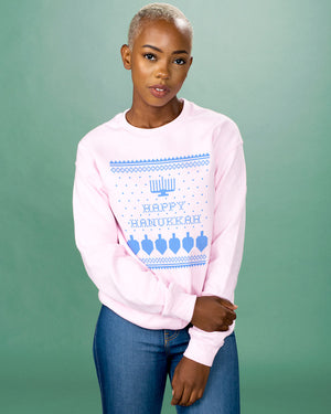 Happy Hanukkah Ugly Sweater Crewneck Sweatshirt - Femfetti