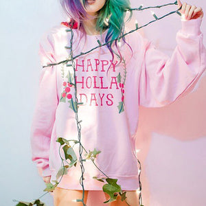 Happy Holla Days Crewneck Sweatshirt - Femfetti