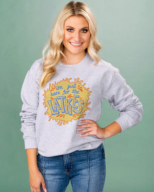 Just Here For The Latkes Crewneck Sweatshirt - Femfetti