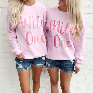 Mild One Wild One Watercolor Duo Sweatshirt Set - Femfetti