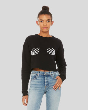 Skeleton Hands Crop Sweatshirt - Femfetti