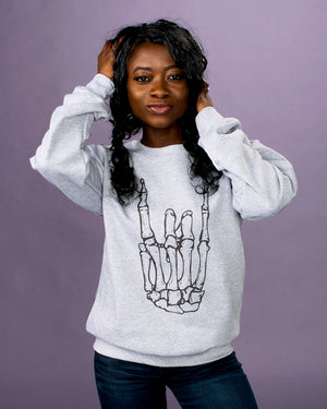 Skeleton Rock Hand Crewneck Sweatshirt - Femfetti