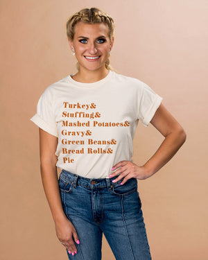 Thanksgiving Food List Shirt