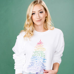 Rainbow Pine Tree Crewneck Sweatshirt