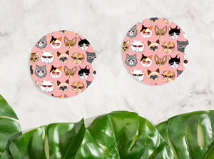 Cat Pattern Car Coaster