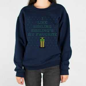 Elf Smiling's My Favorite Ugly Christmas Sweatshirt - Femfetti