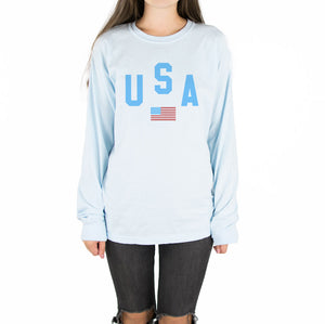 USA Flag Long Sleeve Tee