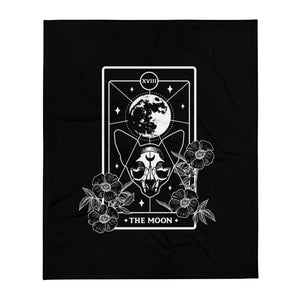 Moon Cat Tarot Card Throw Blanket