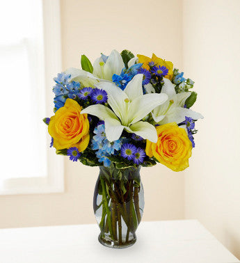 Blue Skies & Yellow Roses Bouquet