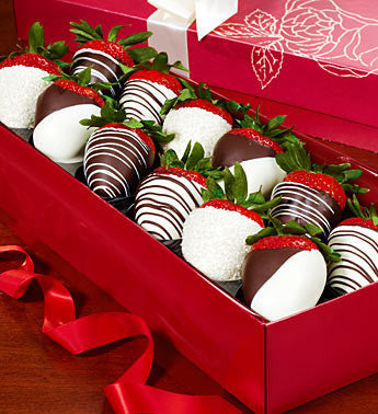 Elegant Chocolate Covered Strawberry Rose Box