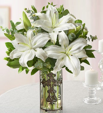 White Lily Condolence Arrangement