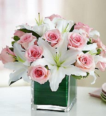 Pink Rose and White Lily Showcase