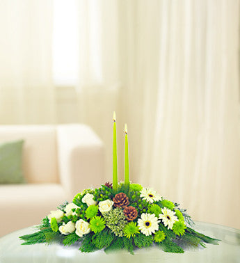Winter White Centerpiece with Green Candles