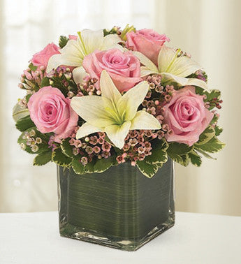 Enchanting Cube of Pink Roses and White Lilies