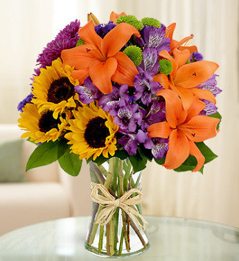 Cheerful Country Sunflowers and Daisies