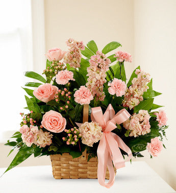 Peach and Pink Sympathy Basket Arrangement