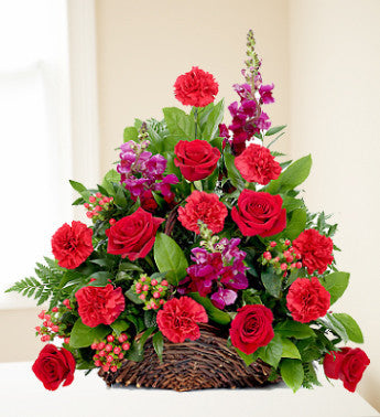 Carnation and Rose Memorial Basket