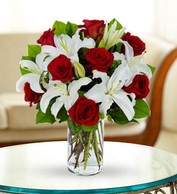 White Stargazer Lilies And Red Roses Florists Uk
