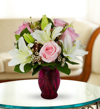 Powder Lily and Pink Rose Bouquet