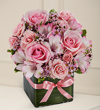 Pink Roses and Waxflowers Romance Bouquet