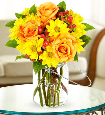 Orange Roses and Yellow Daisies