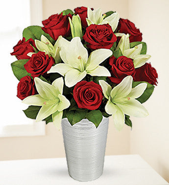 Asiatic Lilies and Red Roses