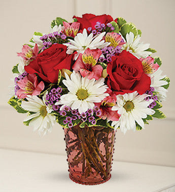 White Daisies and Pink Roses Bouquet