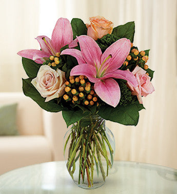 Colorful Rose and Pink Lily Surprise