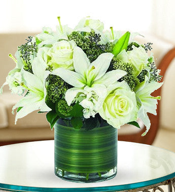Contemporary White Rose & Lily Bouquet