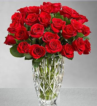 24 Red Roses in Waterford Crystal Vase