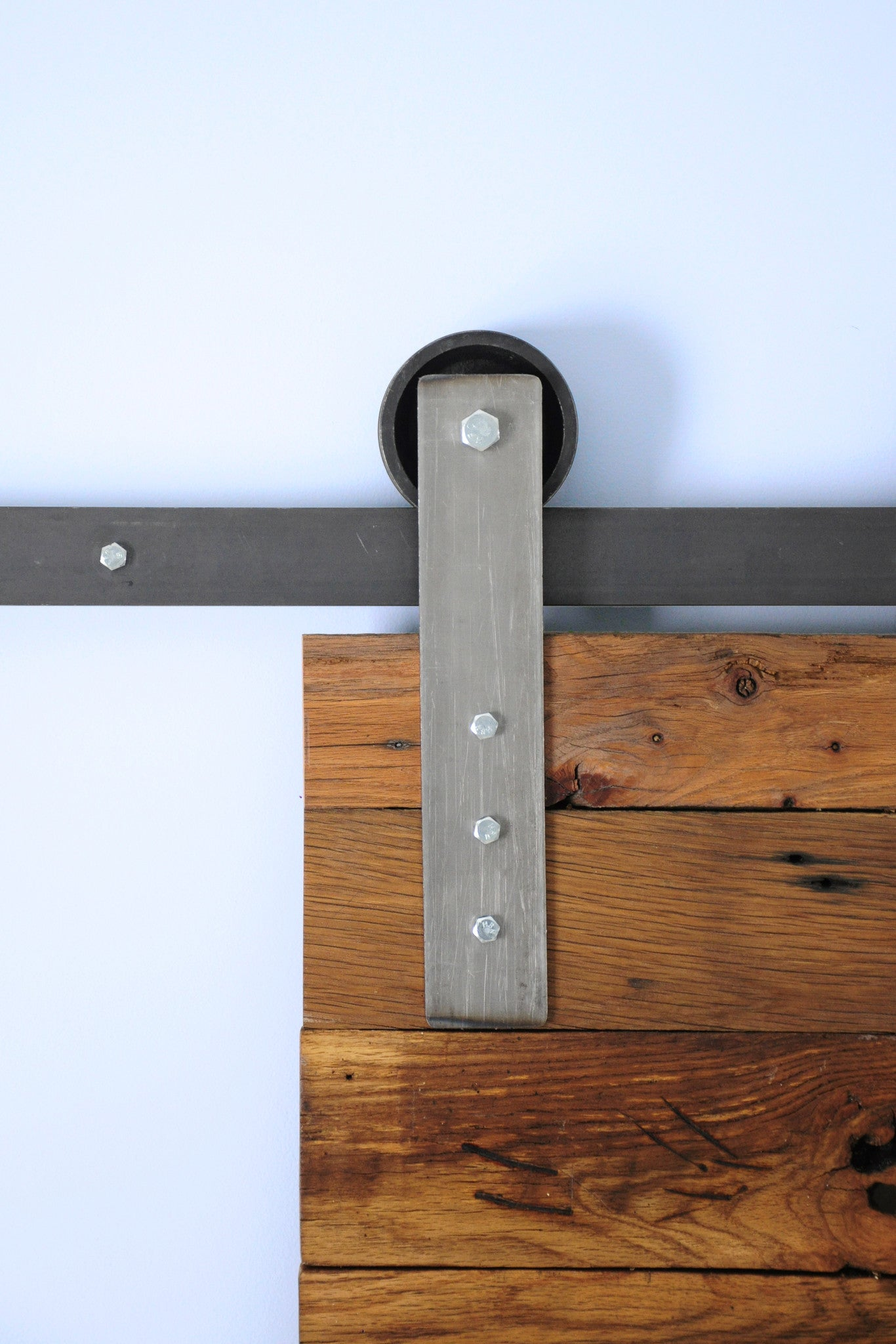raw steel barn door hardware track and wheel