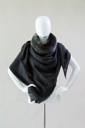 Evelyne Prèlonge Faux Fur & Cashmere Scarf - Anthracite Gray