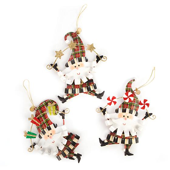 MacKenzie-Childs Party Santa Ornaments -