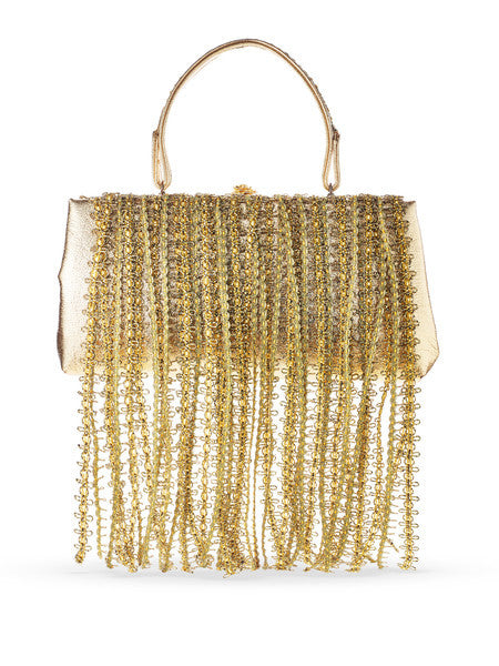 "Evening Fringe Handbag <br> ""Liquid Gold"""