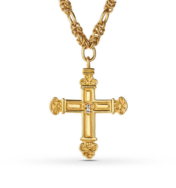 "Gold Cross Necklace <br> ""Constantine"""