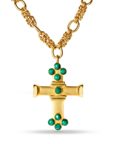 "Gold Cross Stone Necklace  <br> ""Angelina"""