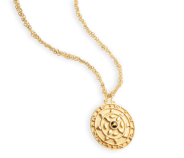 "Gold Pendant Disc Necklace <br> ""Boucle"""