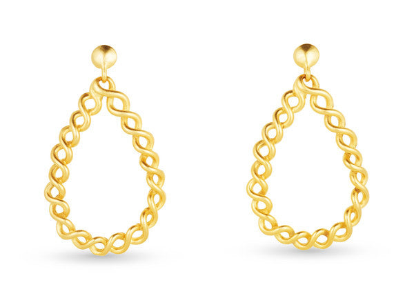 "Teardrop Gold Earrings <br> ""Stella"""