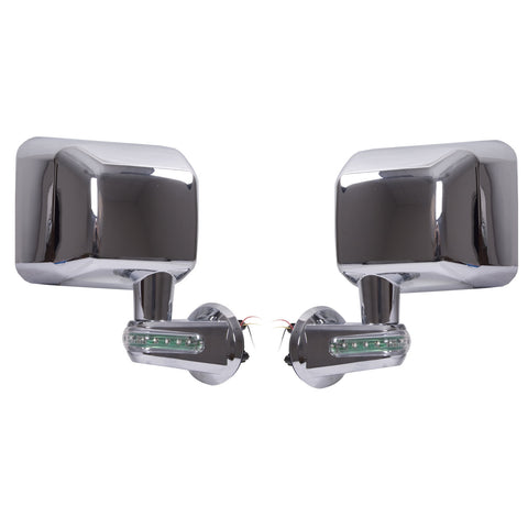 Door Mirrors with LED Turn Signals, Chrome; 07-17 Jeep Wrangler JK - EZ Wheeler